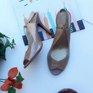Tahari Peep toe Blush Nude Low Strap heels